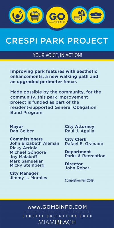 GO Bond Crespi Park Construction Sign 6.21