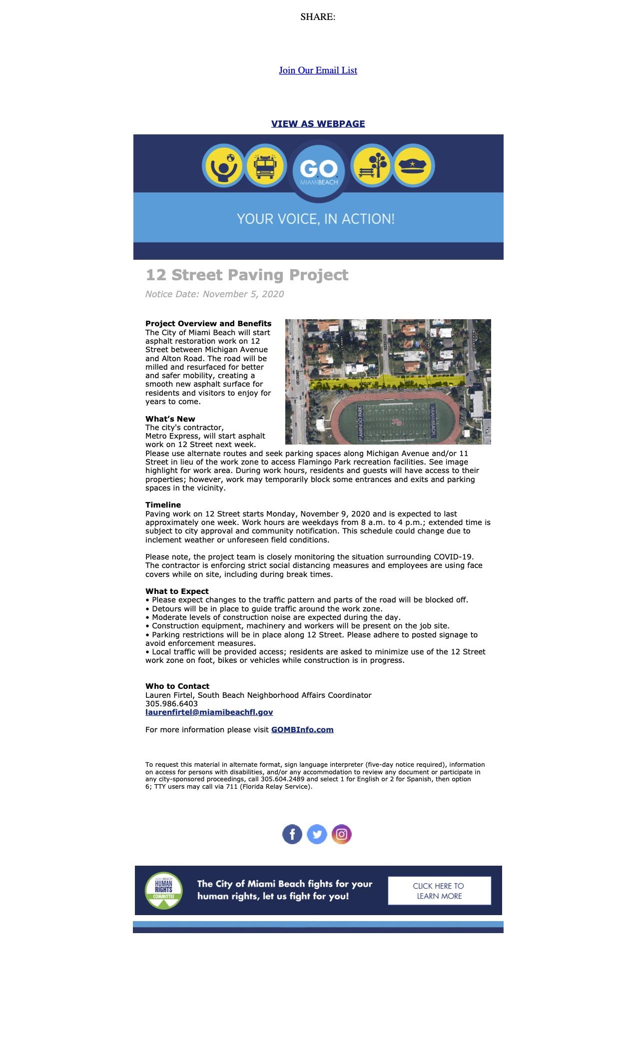 Construction Advisory_ 12 Street Paving starts next week!